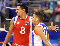 September 16, 2018 - Varna, Bulgaria - from left Eddie RIVERA (Puerto Rico), Dennis Del VALLE (Puerto Rico), .FIVB Volleyball Men's World Championship 2018, pool D, Puerto Rico vs Finland, Sept 16, 2018, . Palace of Culture and Sport, Varna/Bulgaria, .the teams of Finland, Cuba, Puerto Rico, Poland, Iran and co-host Bulgaria are playing in pool D in the preliminary round. (Credit Image: © Wolfgang Fehrmann/ZUMA Wire)