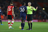 Football - 2019 / 2020 Premier League - Southampton vs. West Ham United<br /> <br /> Michail Antonio of West Ham United can't believe it as his goal is ruled out by VAR at St Mary's Stadium Southampton<br /> <br /> COLORSPORT/SHAUN BOGGUST