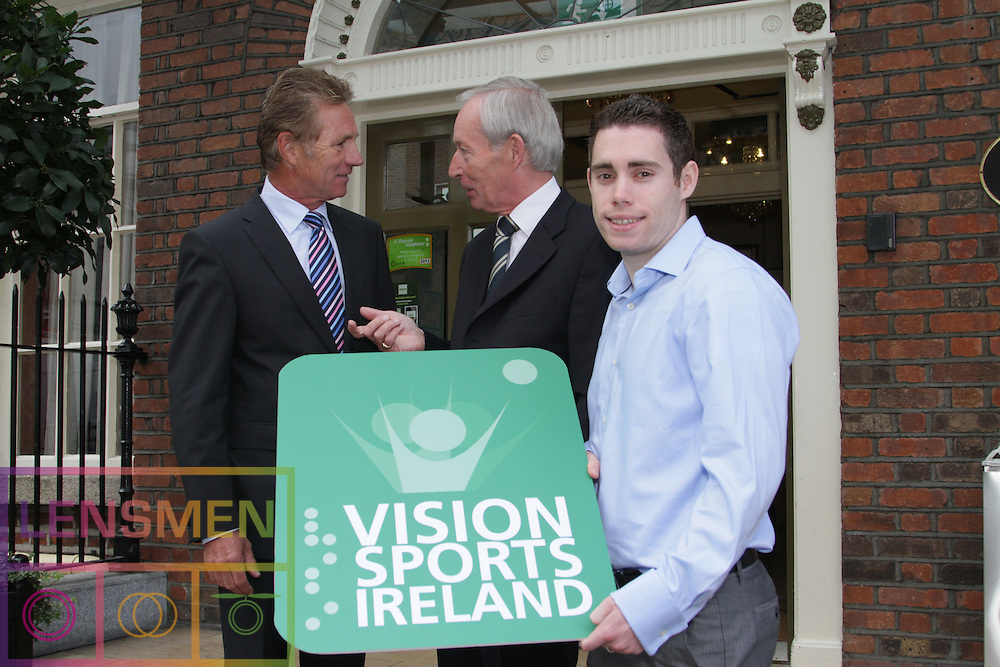 """Jason Smyth and Minister Leo Varadkar launch Vision Sports Ireland  <br />Thursday, 19 September, Dublin.<br /> Four time Paralympic gold medallist and World Champion, Jason Smyth, and Minister for Transport, Tourism & Sport, Leo Varadkar, today launched Vision Sports Ireland at a reception in central Dublin. Formerly Irish Blind Sports, the organisation has been renamed and rebranded to mark its 25th anniversary and to reflect the needs of its members. <br /><br />Pictured at the  launched Vision Sports Ireland at a reception in central Dublin. Formerly Irish Blind Sports, the organisation has been renamed and rebranded to mark its 25th anniversary and to reflect the needs of its members.<br />Were life to right<br />Senator Eamonn Coghlan.<br />Robert Dobbyn, Chairperson Vision Sports Ireland.<br />Jason Smyth, Paralympic Double Gold Sprinter.<br />Speaking at the opening Minister Varadkar said: """"This is the start of a new era for vision impaired sports people in Ireland and I congratulate Vision Sports Ireland for reaching out to the community. Sport can, and should, be open to everyone, and I know that this organisation is striving to provide access to activities right across the country. The Government continues to support this area and awarded €36,000 to Vision Sports Ireland through the Sports Council this year, in addition to support for elite athletes through Paralympics Ireland.""""<br />Vision Sports Ireland assists vision impaired people in Ireland, of all ages, to access sports at all levels, from leisure to elite, in their own communities where possible. The Organisation offers a range of sports, including tandem cycling, football, swimming, golf and athletics and hosts, both,  national and international competitions. <br />Senator Eamonn Coghlan, a valued supporter of Vision Sports Ireland, former three time Olympian and World athletics 5000m champion,  presided over the event declaring in his opening that """"today is a great day for the vision impaired pe"""