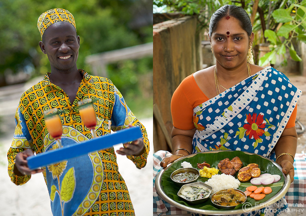 Welcome drinks at Guludo beach lodge in the Quirimbas National Park in northern Mozambique and Indian woman with plate of food in Pondicherry, India.