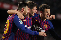 January 30, 2019 - Barcelona, BARCELONA, Spain - Sergi Roberto, Messi and Coutinho of Barcelona celebrating a goal during Spanish King championship, football match between Barcelona and Sevilla, January  30th, in Camp Nou Stadium in Barcelona, Spain. (Credit Image: © AFP7 via ZUMA Wire)