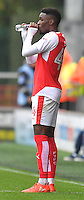 Fleetwood Town's Devante Cole takes on water<br /> <br /> Photographer Dave Howarth/CameraSport<br /> <br /> The EFL Sky Bet League One - Fleetwood Town v Coventry Town - Saturday 3 September 2016 - Highbury Stadium - Fleetwood<br /> <br /> World Copyright © 2016 CameraSport. All rights reserved. 43 Linden Ave. Countesthorpe. Leicester. England. LE8 5PG - Tel: +44 (0) 116 277 4147 - admin@camerasport.com - www.camerasport.com