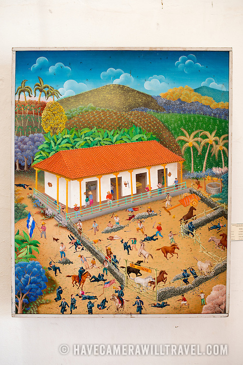 The painting is titled La Batalla de San Jacinto, 1988, and was painted by Amilca Mendieta. The The Centro Cultural Convento San Francisco, located just a couple of blocks from Parque Central in Granada, is dedicated to the history of the region.