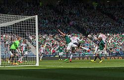 Falkirk's Craig Sibbald (10) scoring theirwinning goal.<br /> Hibernian 0 v 1 Falkirk, William Hill Scottish Cup semi-final, played 18/4/2015 at Hamden Park, Glasgow.
