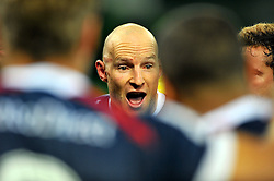 Rebels captain, Stirling Mortlock .congratulates his team after win.Melbourne Rebels v The Hurricanes.Rugby Union - 2011 Super Rugby.AAMI Park, Melbourne VIC Australia.Friday, 25 March 2011.© Sport the library / Jeff Crow