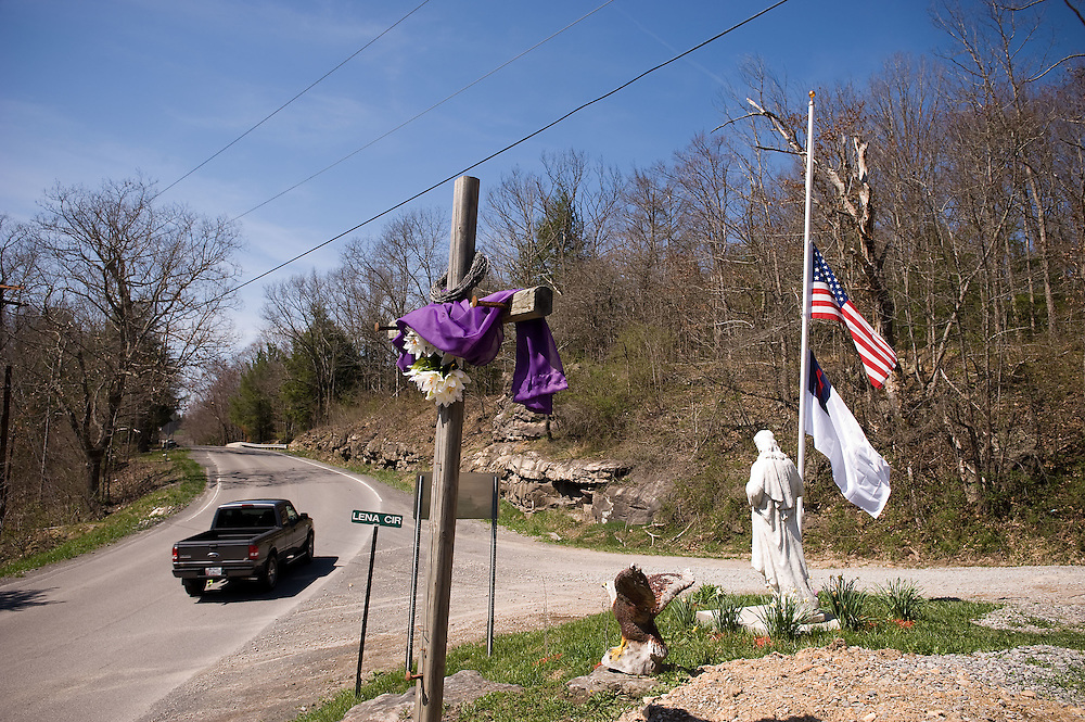 The flags at Stepping Stone Community Church fly at half-mast in nearby Tolleys, WV on Tuesday, April 6, 2010.