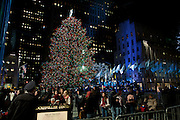 The lit treet, seen from West 49th Street.