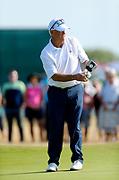 Golf - 2019 Senior Open Championship at Royal Lytham & St Annes - First Round <br /> <br /> Sandy Lyle (SCO) follows his putt on the 1st hole.<br /> <br /> COLORSPORT/ALAN MARTIN
