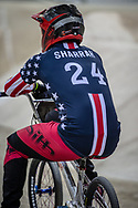 #24 (SHARRAH Corben) USA during practice at the 2019 UCI BMX Supercross World Cup in Manchester, Great Britain