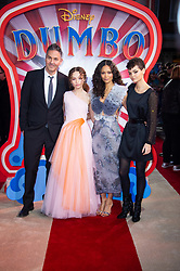 (left to right) Ol Parker, Nico Parker, Thandie Newton attending the European premiere of Dumbo held at Curzon Mayfair, London.