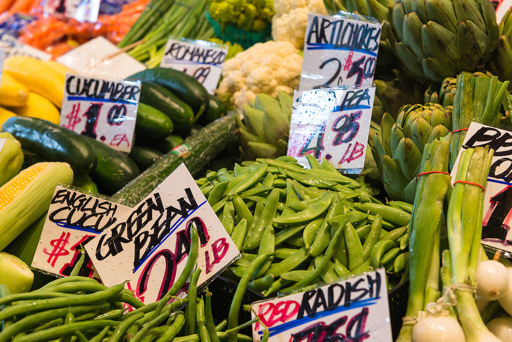 Fresh vegetables at Pike Place Market in Seattle, Washington