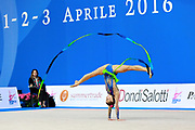 Kiss Alexandra of Hungary competes during the rhythmic gymnastics individual ribbon qualification of the World Cup at Adriatic Arena on April 2, 2016 in Pesaro, Italy.<br /> Alexandra was born in Budapest Hungary in 2000.