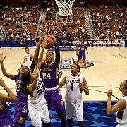 I'Tiana Taylor, East Carolina, rebounds during the Temple Vs East Carolina Quarterfinal Basketball game during the American Athletics Conference Women's College Basketball Championships 2015 at Mohegan Sun Arena, Uncasville, Connecticut, USA. 7th March 2015. Photo Tim Clayton