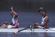 Barcelona, SPAIN. GBR M2-, Bow Steven REDGRAVE and Matthew PINSENT, celebrate winning the Olympic Gold medal. 1992 Olympic Rowing Regatta Lake Banyoles, Catalonia [Mandatory Credit Peter Spurrier/ Intersport Images]