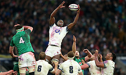 England's Maro Itoje wins a lineout during the NatWest 6 Nations match at Twickenham Stadium, London.