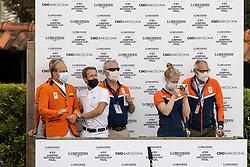 Team Netherlands, Greve Willem, Van der Vleuten Eric, Wagemakers Ad, Ehrens Rob<br /> Longines FEI Jumping Nations Cup Final<br /> Barcelona 2021<br /> © Hippo Foto - Dirk Caremans<br />  03/10/2021