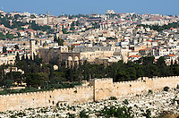 View of Jerusalem from Temple on the Mount in the Old City of Jerusalem.