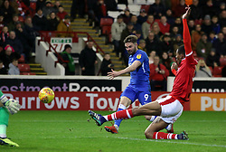 Matt Godden of Peterborough United shoots at goal against Barnsley - Mandatory by-line: Joe Dent/JMP - 26/12/2018 - FOOTBALL - Oakwell Stadium - Barnsley, England - Barnsley v Peterborough United - Sky Bet League One
