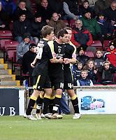 Photo: Mark Stephenson/Richard Lane Photography. <br /> Scunthorpe United v Cardiff City. Coca-Cola Championship. 19/04/2008. Cardiff's Joe Ledley ( C) celebrates his goal for 2-2