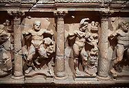"""Roman Herakles (Hercules)  relief sculptured sarcophagus, 2nd century AD, Perge, inv 928. it is from the group of tombs classified as. """"Columned Sarcophagi of Asia Minor"""".  Antalya Archaeology Museum, Turkey .<br /> <br /> If you prefer to buy from our ALAMY STOCK LIBRARY page at https://www.alamy.com/portfolio/paul-williams-funkystock/greco-roman-sculptures.html . Type -    Antalya    - into LOWER SEARCH WITHIN GALLERY box - Refine search by adding a subject, place, background colour, etc.<br /> <br /> Visit our ROMAN WORLD PHOTO COLLECTIONS for more photos to download or buy as wall art prints https://funkystock.photoshelter.com/gallery-collection/The-Romans-Art-Artefacts-Antiquities-Historic-Sites-Pictures-Images/C0000r2uLJJo9_s0"""