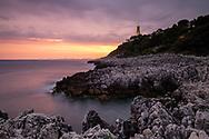 Coastal landscape with the lighthouse of Saint Jean Cap Ferrat, cote d'azur, France.