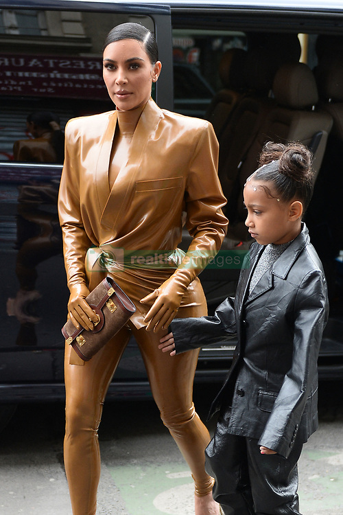 Kim Kardashian, her daughter North West, Kourtney Kardashian and daughter Penelop arrive at Sunday service at les bouffes du nord. Paris, March the 1st 2020 Photo by ABACAPRESS.COM