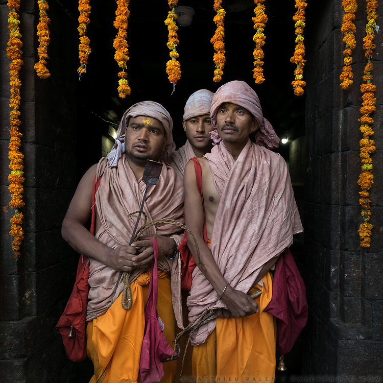 Hindu Pilgrims at the temple of Jageshwar. In the Himalaya.
