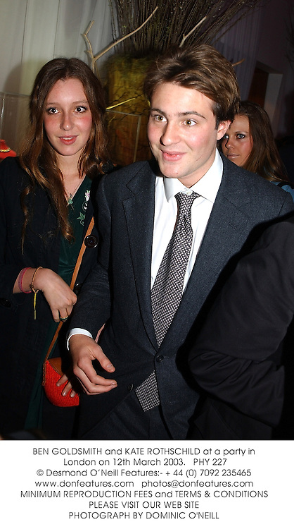 BEN GOLDSMITH and KATE ROTHSCHILD at a party in London on 12th March 2003.PHY 227