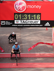 David Weir wins the men's wheel chair Virgin Money London Marathon, London. PRESS ASSOCIATION. Picture date: Sunday April 23, 2017. See PA story ATHLETICS Marathon. Photo credit should read: Yui Mok/PA Wire