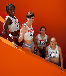 Merlene Ottey, Kristina Zumer, Tina Murn and Sabina Veit  of Slovenia after competing during  the 4x100m Womens Relay Heats during day five of the 20th European Athletics Championships at the Olympic Stadium on July 31, 2010 in Barcelona, Spain.  (Photo by Vid Ponikvar / Sportida)