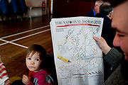 General election 2015. West Kilbride, Scotland. Women for Independence free cafe for voters - here copy of The National newspaper with map to colour in as election results are announced