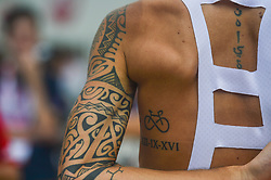September 24, 2017 - Zhuhai, Guangdong, China - A Tattoo on Raffaello Bonusi's arm and back seen at the fifth and final stage of the 2017 Tour of China 2, the 91.2km Zhuhai Hengqin Circuit Race. .On Sunday, 24 September 2017, in Hengqin district, Zhuhai City, Guangdong Province, China. (Credit Image: © Artur Widak/NurPhoto via ZUMA Press)