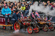 The Miniature Steamers for Charity pass Piccadilly Circus - The New Years day parade passes through central London form Piccadilly to Whitehall. London 01 Jan 2017