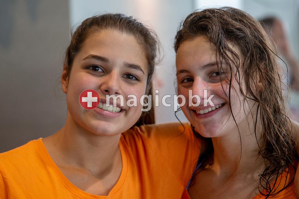 (L-R) Eva GEILENKIRCHEN of Switzerland and her teammate Arianna SAKELLARIS pose for a photo during the NLA Swiss Short Course Swimming Team Championships in Uster, Switzerland, Sunday, April 15, 2018. (Photo by Patrick B. Kraemer / MAGICPBK)