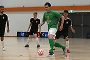Central player Danny Wilson looks to pass in the Mens Futsal Superleague match, Central v Capital, Pettigrew Green Arena, Napier, Saturday, September 28, 2019. Copyright photo: Kerry Marshall / www.photosport.nz