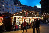 Christmas stall market at night - Strasbourg France