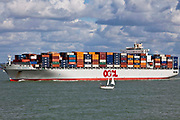 The OOCL Southampton container ship heading up to Solent to Southampton, UK.