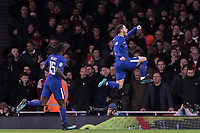 Football - 2017 / 2018 Carabao (EFL/League) Cup - Semi-Final, Second Leg: Arsenal (0) vs. Chelsea (0)<br /> <br /> Eden Hazard (Chelsea FC)  leaps into the air in front of the Arsenal fans after he scores the opening goal at The Emirates.<br /> <br /> COLORSPORT/DANIEL BEARHAM