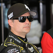 Sprint Cup Series driver Jeff Gordon (24) is seen in the garage area during the 57th Annual NASCAR Coke Zero 400 practice session at Daytona International Speedway on Friday, July 3, 2015 in Daytona Beach, Florida.  (AP Photo/Alex Menendez)