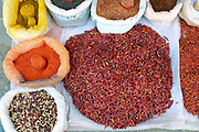 Fresh dried chilli for sale at an early morning market in Loikaw on 17th January 2016 in Kayah state, Myanmar.  A large variety of local products are available for sale in fresh markets all over Myanmar, all being sold on small individual stalls