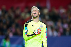 Kasper Schmeichel of Leicester City celebrates after Jamie Vardy scores a goal to make it 2-1 - Rogan Thomson/JMP - 22/02/2017 - FOOTBALL - Estadio Ramon Sanchez Pizjuan - Seville, Spain - Sevilla FC v Leicester City - UEFA Champions League Round of 16, 1st Leg.