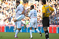 FOOTBALL - FRENCH CHAMPIONSHIP 2010/2011 - L1 - MONTPELLIER HSC v OLYMPIQUE MARSEILLE  - 17/04/2011 - PHOTO SYLVAIN THOMAS / DPPI - ANDRE PIERRE GIGNAC (OM) AND BENOIT CHEYROU (OM) AFTER HIS GOAL