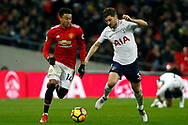 Jesse Lingard of Manchester United (L) in action with Ben Davies of Tottenham Hotspur (R).  Premier league match, Tottenham Hotspur v Manchester Utd at Wembley Stadium in London on Wednesday 31st January 2018.<br /> pic by Steffan Bowen, Andrew Orchard sports photography.