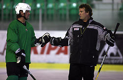 Player Todd Elik of Canada and head coach Mike Posma at second ice hockey practice of HDD Tilia Olimpija on ice in the new season 2008/2009, on August 19, 2008 in Hala Tivoli, Ljubljana, Slovenia. (Photo by Vid Ponikvar / Sportal Images)