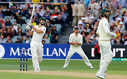 Australia's Shaun Marsh hits a six during day two of the Ashes Test match at the Adelaide Oval, Adelaide.