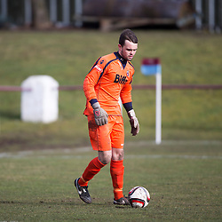Whitehill Welfare keeper Bryan Young. <br /> Whitehill Welfare 2 v 1 Edusport Academy, South Challenge Cup Quarter Final played 7/3/2015 at Ferguson Park, Carnethie Street, Rosewell.