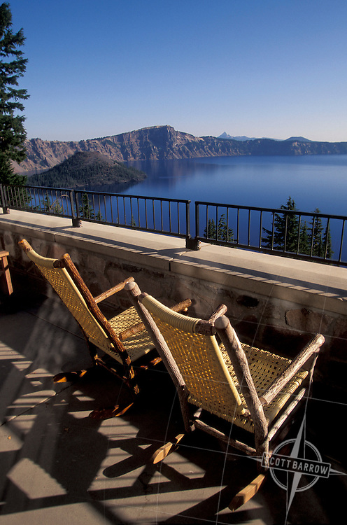 Lounge chairs on patio overlooking Crater Lake Lodge, Oregon