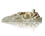 Etruscan Hellenistic style cinerary, funreary, urn cover with a man,  National Archaeological Museum Florence, Italy, white background .<br /> <br /> If you prefer to buy from our ALAMY PHOTO LIBRARY  Collection visit : https://www.alamy.com/portfolio/paul-williams-funkystock - Scroll down and type - Etruscan Florence - into LOWER search box. (TIP - Refine search by adding a background colour as well).<br /> <br /> Visit our ETRUSCAN PHOTO COLLECTIONS for more photos to download or buy as wall art prints https://funkystock.photoshelter.com/gallery-collection/Pictures-Images-of-Etruscan-Historic-Sites-Art-Artefacts-Antiquities/C0000GgxRXWVMLyc
