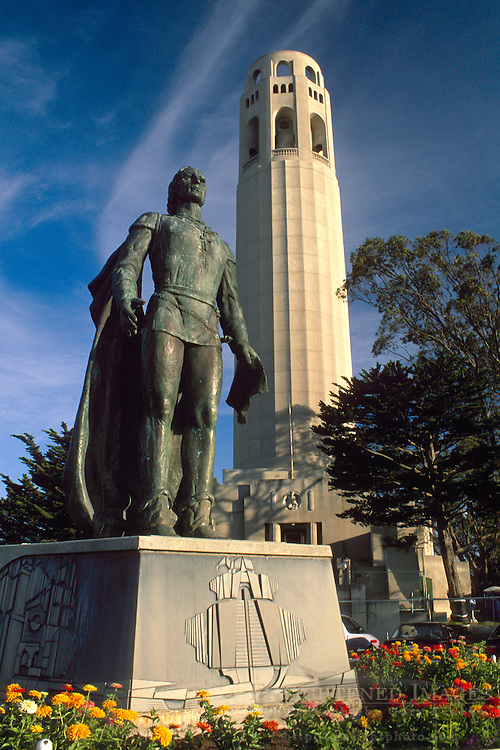 Statue of Christopher Columbus in front of Coit Tower, Telegraph Hill, San Francisco, California