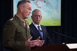 Defense Secretary James Mattis  and the Chairman of the Joint Chiefs of Staff, Marine Gen. Joseph F. Dunford, Jr., update the media on the defeat of the Islamic State of Iraq and Syria during a joint press conference at the Pentagon in Washington, D.C., May 19, 2017. (DOD photo by Army Sgt. Amber I. Smith)